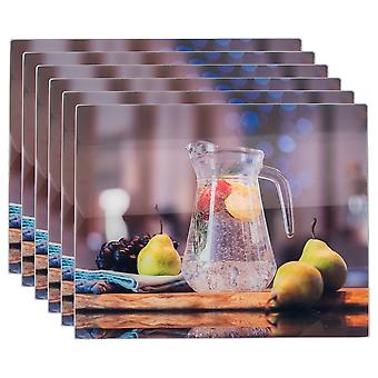 Glass Placemats Set | 50 x 40cm - Jug | Non Slip Tempered Dining Table Mats