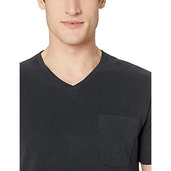 Goodthreads Men's Short-Sleeve Sueded Jersey V-Neck Pocket T-Shirt, Black, Medium