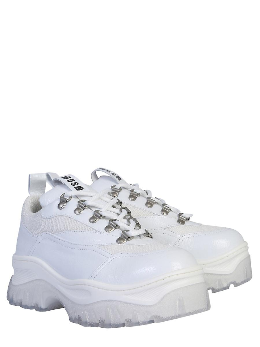 Msgm 2742mds50939801 Women's White Leather Sneakers