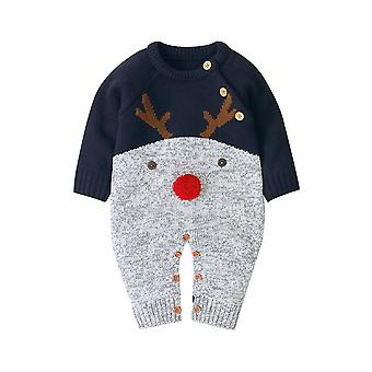 Christmas Newborn Baby Girl Knitted Sweater / Romper Winter Jumpsuit- Overall Warm Fall Autumn Wool Xmas Clothes