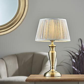Lámpara de mesa antigua placa de latón y plata seda 1 luz IP20 - E27