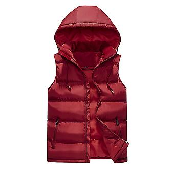 YANGFAN Men's Hooded Solid Color Down Vest Gilet