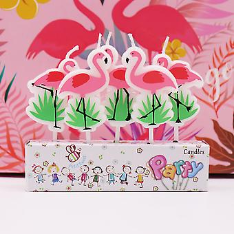 5pcs Cartoon Unicorn/flamingo Candles - Birthday Party, Baby Shower, Kids Party