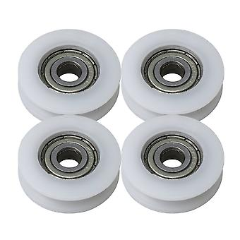 4 x White Bearing Rail Pulley Groove Rolloer Wheel 5x24x7mm Load 73KG
