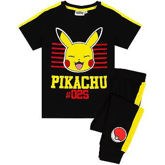 Pokémon Pikachu Pyjamas für Jungen | Kinder Kurzarm Pikachu T-Shirt & Pokeball Bottoms PJ Set | Kinder Sleepwear Gamer Geschenk