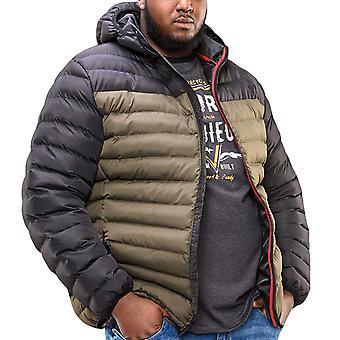 Duke D555 Mens Big Tall King Storlek Hewlett Vadderad Hooded Jacket - Svart/Khaki