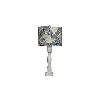 Distressed White Table Lamp with Moroccan Tile Design Shade