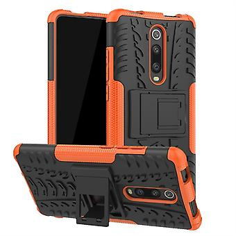 Tire Texture TPU+PC Shockproof Protective Case with Holder for Xiaomi Mi 9T / 9T Pro / Redmi K20 / K20 Pro(Orange)
