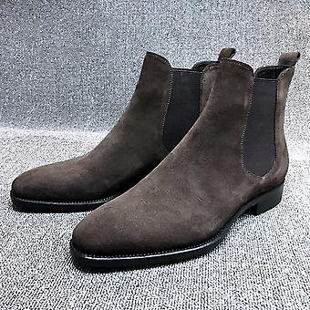Men Slip On Pointed Toe Ankle Boots, Casual Winter Shoes For Man