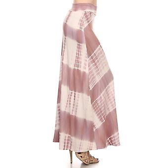 Tie Dye Striped Soft Foldover Maxi Long Skirt