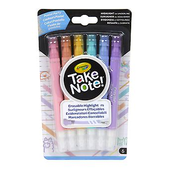 ¡Toma nota! Iluminadores borrables, Pastel Party, Pack of 6