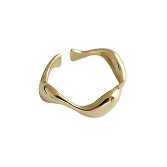 925 plata de ley creativo hecho a mano irregular onda anillos suaves