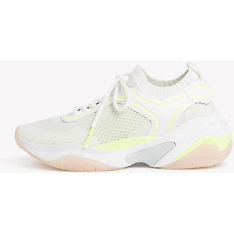 Sapatos planos de neon branco