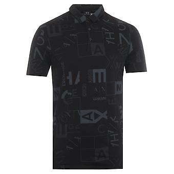 Armani Exchange Square Print Polo Shirt - Black