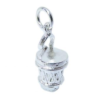 Bongo Drum Sterling Silber Charm .925 X 1 Bongos Drums Charms - 8446