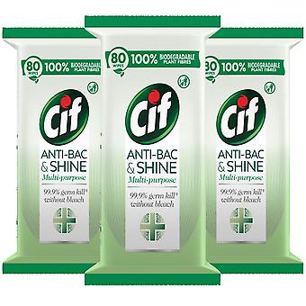 3pk CIF Bio Antibacterial & Shine Cleansing Surface Biodegradable,80 Large Wipes