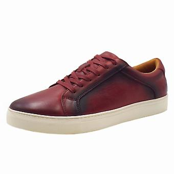 Chatham Jetty Mens Smart-casual Leather Trainers In Bordeaux