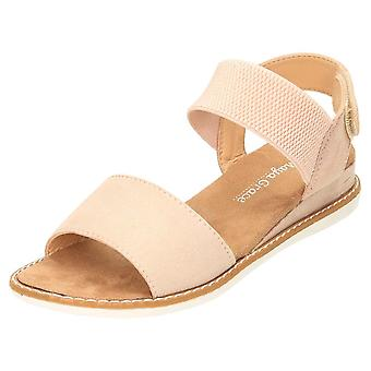 JWF Slingback Sandals Open Toe Low Wedge Elasticated