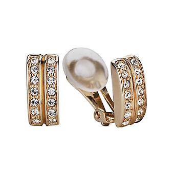 Traveller Clip Earrings with Crystals from Swarovski 22ct Gold plated - 156835
