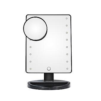 سطح المكتب لمس ماكياج مرآة ماكياج LED مع واجهة USB مع العدسة المكبرة