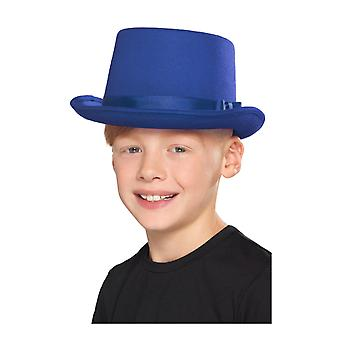 De blauwe hoge hoed van het kind