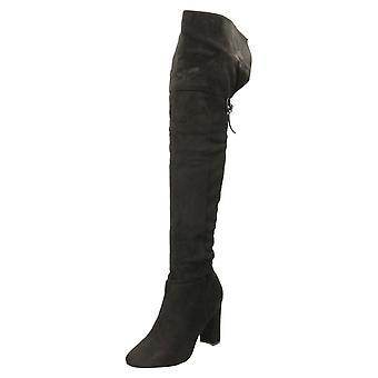 Koi Footwear High Heel Lace Up Knee Boots Black Suede