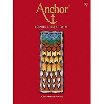 Anchor Counted Cross Stitched Kit PCE5010 Pheasant Bookmark 14.5 x 5.5cm