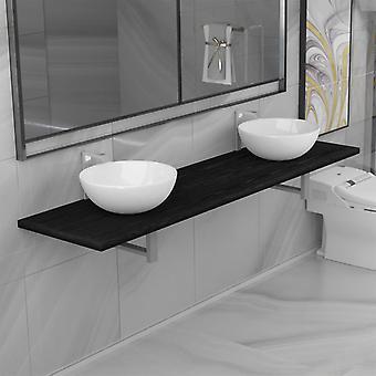 vidaXL 3-pcs. Bathroom furniture set ceramic black