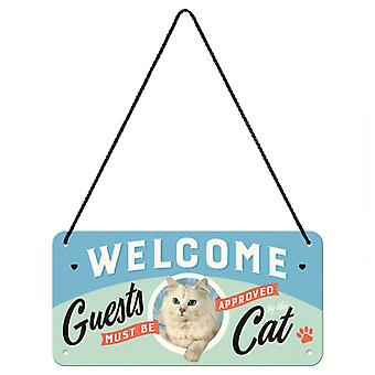 Humorous Cat Theme Vintage Design Hanging Welcome Sign