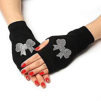 Прекрасная роза Печатные перчатки без пальцев, женщины Мужчины Шерсть Половина перчатки