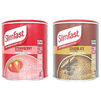 SlimFast KIT Made of High Protein Meal Replacements Shakes Chocolate 300g, Strawberry 292g, 2 Flavours in One Handy Kit