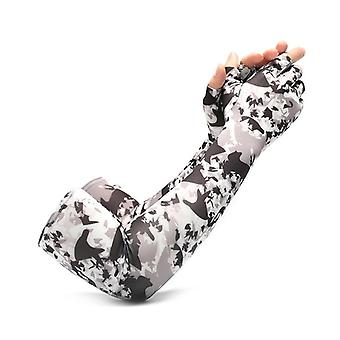 Sun protection five finger ice sleeve female lengthened outdoor riding viscose fiber sun-protection oversleeves