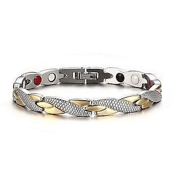 2Pcs الذهب الفضة المغناطيسي سوار العلاج سوار أنيقة الصلب سوار المجوهرات العلاجية شظية والذهب مطلي cai345
