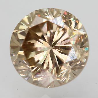 Cert 0.63 Carat Jaune Brun VVS2 Rond Brillant Amélioré Diamant Naturel 5.12m