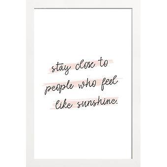 JUNIQE Print - Sunshine Quote - Citat & Slogans Affisch i Rosa & Vitt