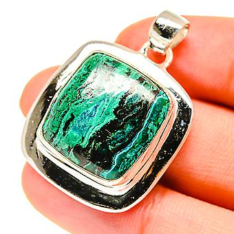 """Pingente chrysocolla 1 1/2"""" (925 Sterling Silver) - Handmade Boho Vintage Jewely PD760541"""