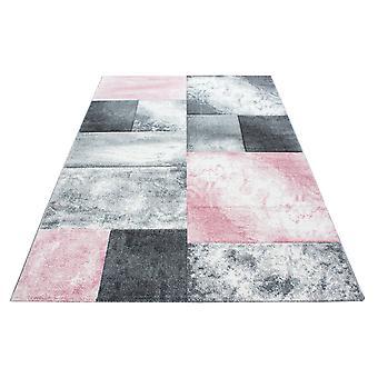 Diseño floral corto rectángulo a cuadros patrón sala de estar alfombra rosa blanco Moteado