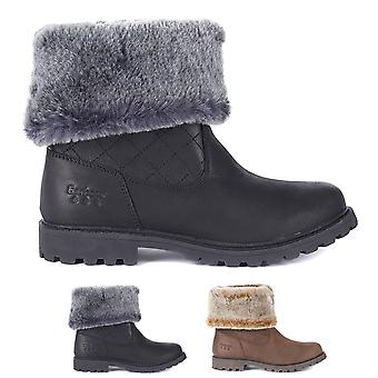 Femmes Barbour Hareshaw Cuir Imperméable Hiver Chaud Faux Fur Bottes de neige
