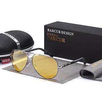 Ase hopea & yö keltainen hopea barcur lentäjä aurinkolasit