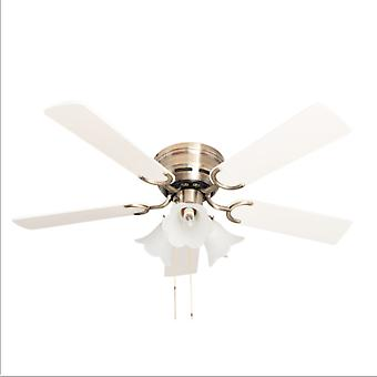 Ceiling fan Kisa Deluxe AB White / Maple with lights