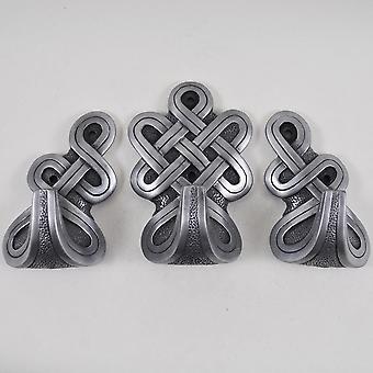 Runda Celtic krokar silver (Uppsättning av 3)