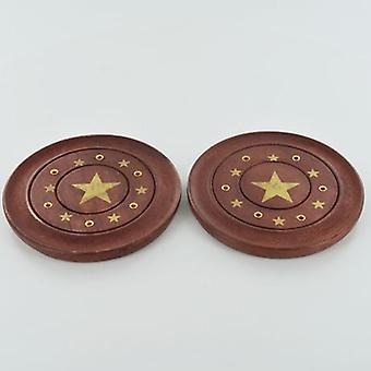 Pentagram Brass Inlay Incense Plates 10cm | Set of 2