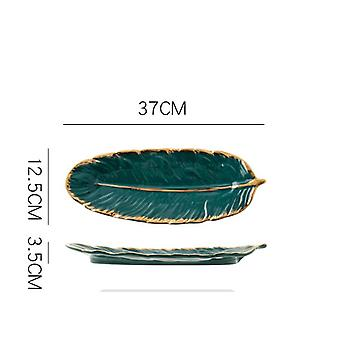 Tray Nordic Style Creative Ceramic Tray Fruit Cake Tableware Plate Jewelry Cosmetic Sundries(green)
