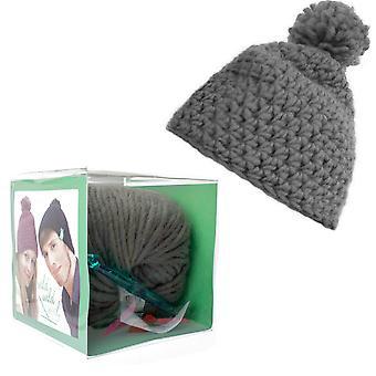 Crochet Hat with Wool Pom Pom Adults Knitting Craft Kit - Grey