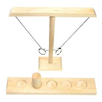 (Holzfarbe) Handgefertigter Holzhaken und Ring-Toss Battle Bars Spiel Schnelles interaktives Geschenk