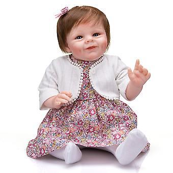 Genfødsel dukke 55cm genfødt baby shaya smilende ansigt baby pige dukke naturtro soft touch nuttede lille barn pige jul sød gave