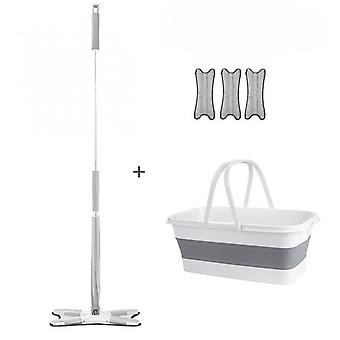 Type X-360 Rotating Flat Mop, With 3 Microfiber Pads, Household Cleaning Tools, With Bucket, Hands-free