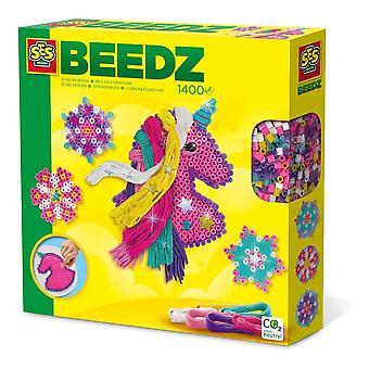 Beedz Children's Iron-on Beads Unicorn avec kit de mosaïque de crinière, 1400 perles de fer