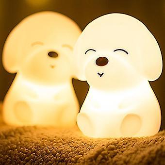 Koiran led yövalo kosketusanturi kaukosäädin 16 väriä himmennettävä USB ladattava silikoni pentu lamppu lapsille vauva lahja