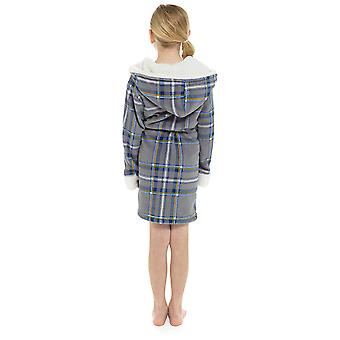 Mädchen Kapuzen Karotte Print Design Soft Fleece Morgenmantel 7-8 Jahre Grau